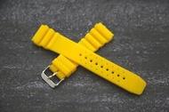 黃色22mm高質感蛇腹式矽膠製潛水風格錶帶,替代SEIKO,CITIZEN oris各式原廠橡膠製錶帶