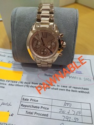 Michael Kors Rose Gold Chronograph Bradshaw Authentic and Pawnable for Mens MK watch Gold-Black Chronograph Pawnable watch for Womens Original Sale Couple watch