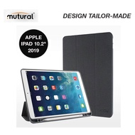 Mutural iPad Case With Apple Pencil Holder  เคสไอแพตแบบมีฝาปิด ใส่ปากกาได้  สำหรับ Apple iPad 10.2 2019 (ดำ)