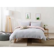 粉紅色床包 現貨床包組 粉灰細條紋床包 灰條紋 天竺棉100%純棉鬆緊帶床包四件組 MUJI無印良品 單人床 雙人床包組