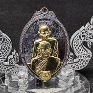 เหรียญคู่บารมี พุทธซ้อน หลวงพ่อพัฒน์ หลวงพ่อเดิม หลวงปู่บุญมาร่วมปลุกเสก เนื้อทองแดงรมดำ หน้ากากทองทิพย์