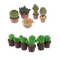 2Pcs/5Pcs สีเขียวน่ารัก Mini ต้นไม้ Potted สำหรับ 1:12 Dollhouse Miniature Cactus Green Plant หม้อตุ๊กตาจำลองกระถาง