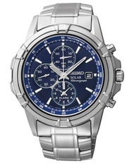 SEIKO SOLAR POWERED MENS CHRONOGRAPH WATCH IN BLUE DIAL SSC141P1