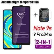 2-IN-1   Anti Bluelight  9HTempered Glass  Full cover For Xiaomi Redmi Note 9s 9 pro max  Camera Lens  screen protector For Redme Note9 Note 9 Pro Max 9Pro Protective Glass Film