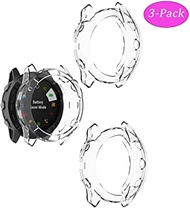 TenCloud Case for Fenix 6X Watch Cover TPU Clear Covers Compatible with Garmin Fenix 6X/6X pro/ 6X Sapphire Multisport GPS Smartwatch (Clear-3Pack)