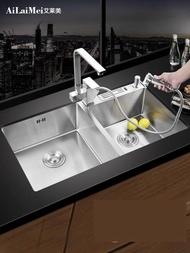 水槽德國加厚手工水槽雙槽304不銹鋼水槽廚房洗菜盆洗碗池套餐臺下盆 智慧e家LX
