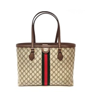 【GUCCI 古馳】631685 Ophidia系列GG帆布印花綠紅綠織帶皮革飾邊肩背托特包/購物包(棕色)