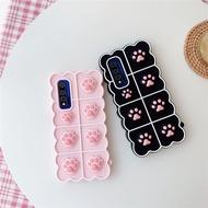 Push It Relieve Stress Fidget Toy Pop Bubble Phone Case for OPPO A7 A12 A5s A11K A3s A12e A3s A9 2020 A5 2020 Realme C1 Cute Cat Paws Pop Fidget Toys Back Cover