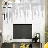 pw 100Pcs/set Acrylic Mirror Wall Sticker Self-adhesive 3D Wallpaper DIY Home Decoration 2*2cm