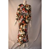 Baju Kurung Moden Cotton Satin English Floral Design Plus Size 3XL 4XL 5XL 6XL