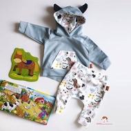 XZQ-Baby Set Infant Boy Girl Animal Cute Flower Printed Hoodie Top Pants