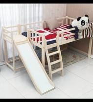 綠巨人家具網*實木兒童床转角滑滑梯床上下床 松木半高床带護欄游戏床分床神器,樂天雙11