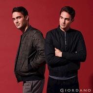 GIORDANO 男裝厚版舖棉雙面穿飛行員外套-95 標誌黑/迷彩綠