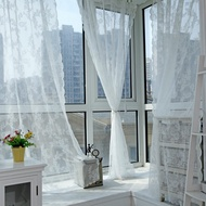Rod pocket Warp Lace screen Curtain Transparent Voile Sheer Curtain