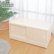 【南亞塑鋼】3尺二推/拉門防水塑鋼坐式鞋櫃/座鞋櫃/收納穿鞋椅(白橡色)