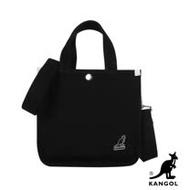 KANGOL 韓版極簡玩色-MINI帆布斜背小方包-黑色 AKG1215