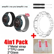 4in1 strap for Amazfit T-rex pro smart watch Band Amazfit T-rex pro   film stainless steel Bracelet for amazfit T REX PRO case cover +glass screen protector