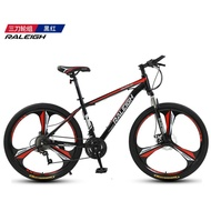🎉 2021 NEW 🎉 RALEIGH, UK Aluminium Mountain Bike 27/30/33 Speed Commuter Shock-Absorbing Male and Female Student Fitness Cross Country Racing 24-inch 27-speed Aluminum Black Red (All-in-One Wheel)