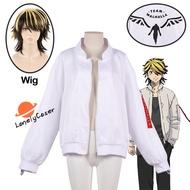 Anime Tokyo Revengers Hanemiya Kazutora Cosplay Costume Wig Zipper White Jacket Valhalla Uniform Baseball Coat Halloween Party