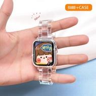 เคส + สายสำหรับ Apple Watch,เคสสำหรับ Apple Watch Series 5 4 3 2 1สายเหล็กแบบใสขนาด42มม. 38มม. 44มม. 40มม.