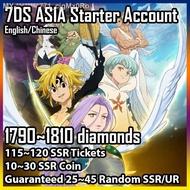 7DS The Seven Deadly Sins Grand Cross Starter Account 1800 diamonds  115 SSR tickets  Random 25 SSR  Asia Server
