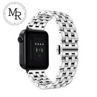 MR AMAZFIT米動手錶青春版不鏽鋼五珠鏈式錶帶-贈拆錶器(銀)