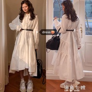 襯衫裙韓國chic鬼馬少女系仙仙襯衫綁帶復古寬鬆POLO領內搭長款洋裝女 海角七號