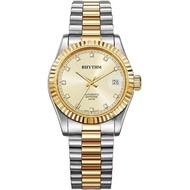 【RHYTHM 麗聲】尊爵晶鑽機械日期手錶-金x雙色/40mm(RA1621S04)