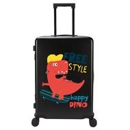 เด็กสุทธิสีแดงรถเข็นกล่องน่ารักไดโนเสาร์กระเป๋าเดินทางสามารถม้าเด็กรหัสผ่านกระเป๋าเดินทางเด็กล้อสากล