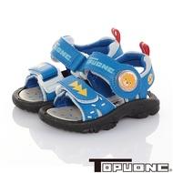 TOPUONE童鞋 輕量減壓運動休閒電燈涼鞋-藍