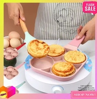 GBPH- NEW (Pink) 4 Hole Omelet Pan Induction Cooking Tool for Breakfast Non-stick Ham Wooden Handle