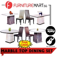CLASSY DINING SET with Marble Top Dining Table