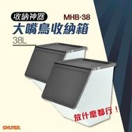 【勁媽媽商城】樹德 第二代大嘴鳥收納箱 MHB-38 灰 2入 積木桶 玩具盒 衣櫃 鞋櫃