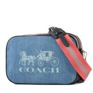 COACH 馬車LOGO牛仔布雙層拉鍊寬背帶相機包-牛仔藍/大