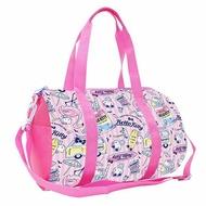 小禮堂 Hello Kitty 尼龍圓筒手提袋行李袋《粉.紅鶴滿版》斜背袋.運動背袋