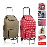 日本DSK.PIG 新一代保冷折疊購物車福利品 棕、紅2色選
