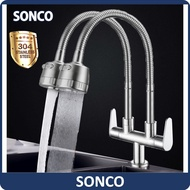 SONCO 304 Stainless Steel Twin Double Tap 2 Mode Sink Tap Water Kitchen Faucet Flexible 360° Rotate Swivel Kepala Paip Sinki Stainless Steel Twin Double Pillar Mounted Tap Sink 2 Mode Tap Water Kitchen Faucet Flexible 360° Rotate Swivel