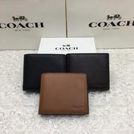 美國代購COACH短夾 F74991 男款小牛皮短夾 素色真皮皮夾  零錢夾 男士錢包 男生證件夾包包