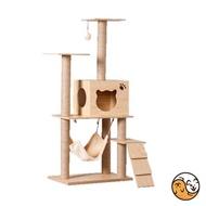 【阿吉寵物】現貨 實木紋大型貓跳台 原木紋貓跳台 貓跳臺 貓吊床 麻製成貓抓柱 養貓必備