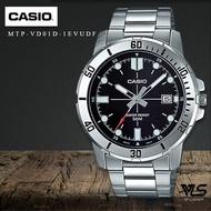Velashop นาฬิกาข้อมือผู้ชาย Casio สายสแตนเลส สีเงิน รุ่น MTP-VD01D-1EVUDF, MTP-VD01D-1E, MTP-VD01D