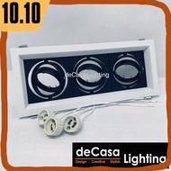 Decasa Lighting Triple Eyeball Casing Set With Led Bulb GU10 Lamp Holder Spotlight Recessed Downlight Lampu Hiasan Siling Triple Head Rectangle Downlight Eyeball Ceiling Light (EB-GU10-3)