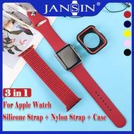 สายรัดซิลิโคน + สายรัดไนลอน + เคส For Apple Watch Band 44mm 40mm 42mm 38mm Series 5 4 3 2 1 สายรัดกีฬาไนล่อนพร้อมเคสป้องกัน