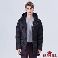 【BRAPPERS】男款 可拆帽長版羽絨外套(黑)