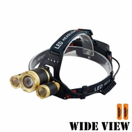 【WIDE VIEW】貴族金變焦三燈T6頭燈組(附電池+充電器NZL-G3T6-2BC)