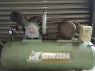 中古3HP天鵝高壓空壓機 單相220V&加大7.5HP儲氣桶(修車業專用機)