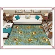 【nuryues.sg】Fashionable Modern Multicolor Peacock Feather Bedroom Living Room Doormat Non-Slip Bedside Carpet Customized Floor Mat CdO9