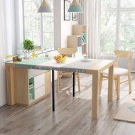 可伸縮折疊餐桌多功能餐邊櫃現代簡約碗櫃茶水櫃儲物櫃 MKS小宅女 居家生活節