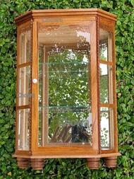 ตู้จิ๋วไม้สัก ทรงหกเหลี่ยม กระจก ตู้โชว์พระ ชั้นวางกล่องเก็บพระเครื่อง สะสม วัตถุมงคล หิ้งไอ้ไข่ ชั้นวางโมเดล ของจิ๋ว ของฝาก ของขวัญ