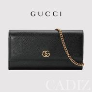 預購 義大利正品 GUCCI GG Marmont leather chain wallet 黑色金鍊雙G皮革長夾包54658