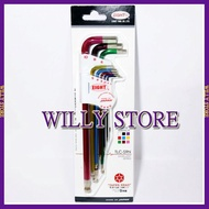 【WILLY STORE】日本八尾牌 EIGHT TLC-S9N 白金 多角球型 六角 板手組 9支組 彩色六角扳手